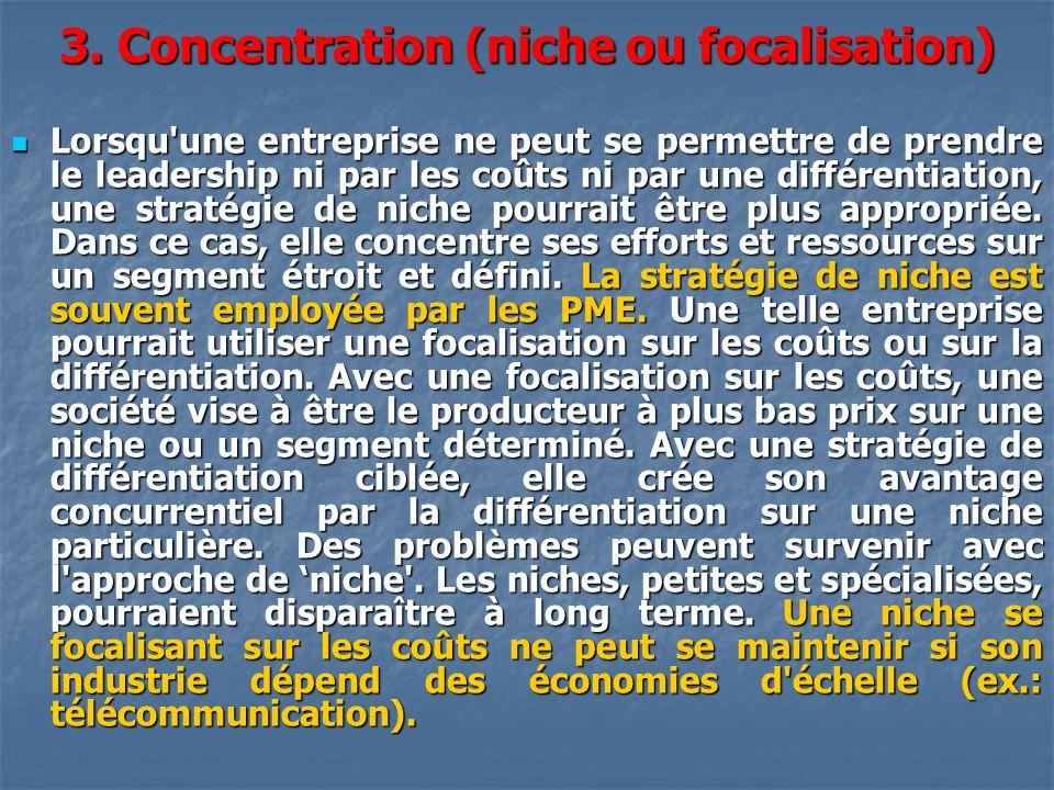 3. Concentration (niche ou focalisation)