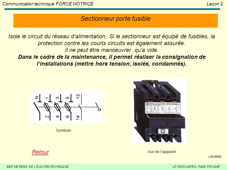 Force motrice le on 2 ppt video online t l charger - Sectionneur porte fusible telemecanique ...