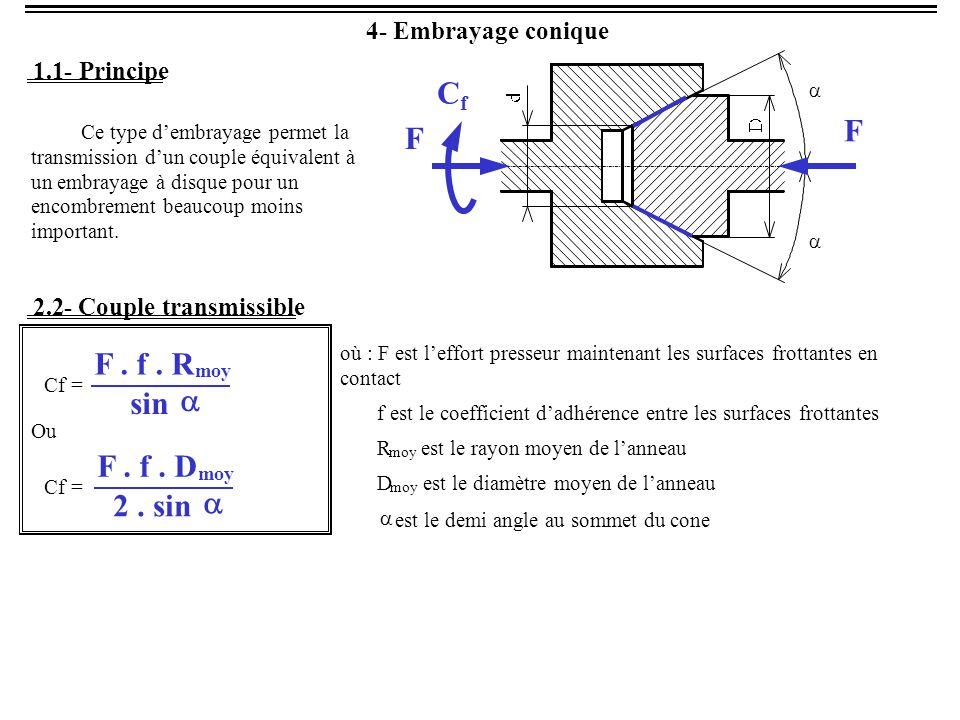 Cf F F F . f . R sin a F . f . D 2 . sin a 4 - Embrayage conique 1.1 -