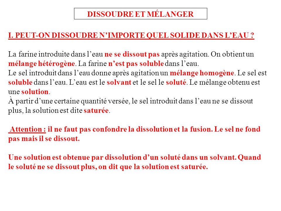 DISSOUDRE ET MÉLANGER I. PEUT-ON DISSOUDRE N'IMPORTE QUEL SOLIDE DANS L'EAU