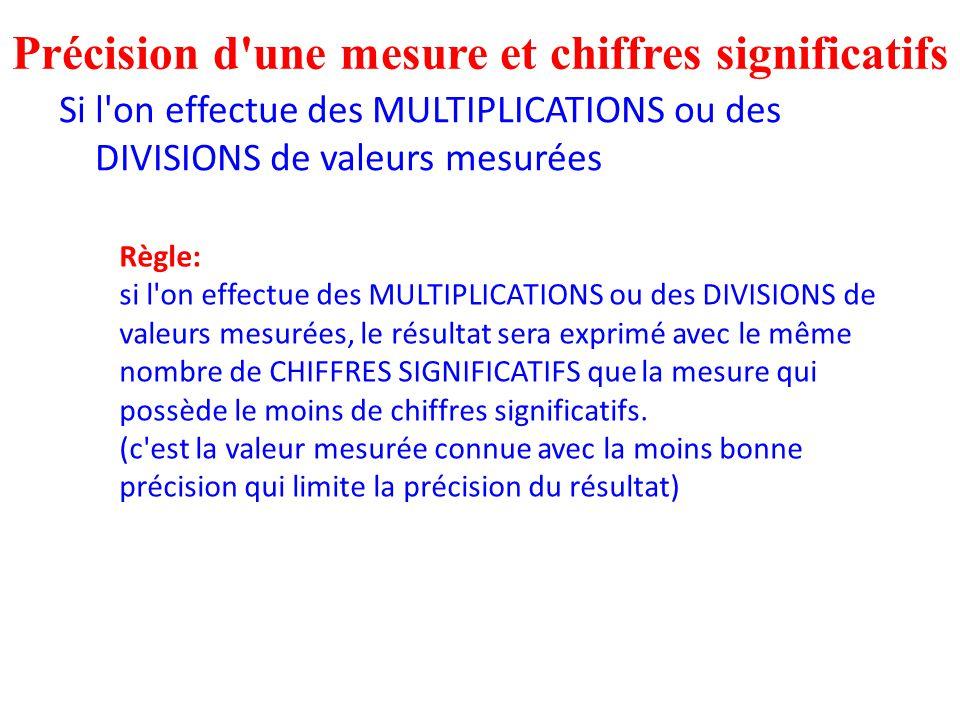 Précision d une mesure et chiffres significatifs