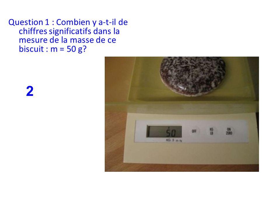 Question 1 : Combien y a-t-il de chiffres significatifs dans la mesure de la masse de ce biscuit : m = 50 g