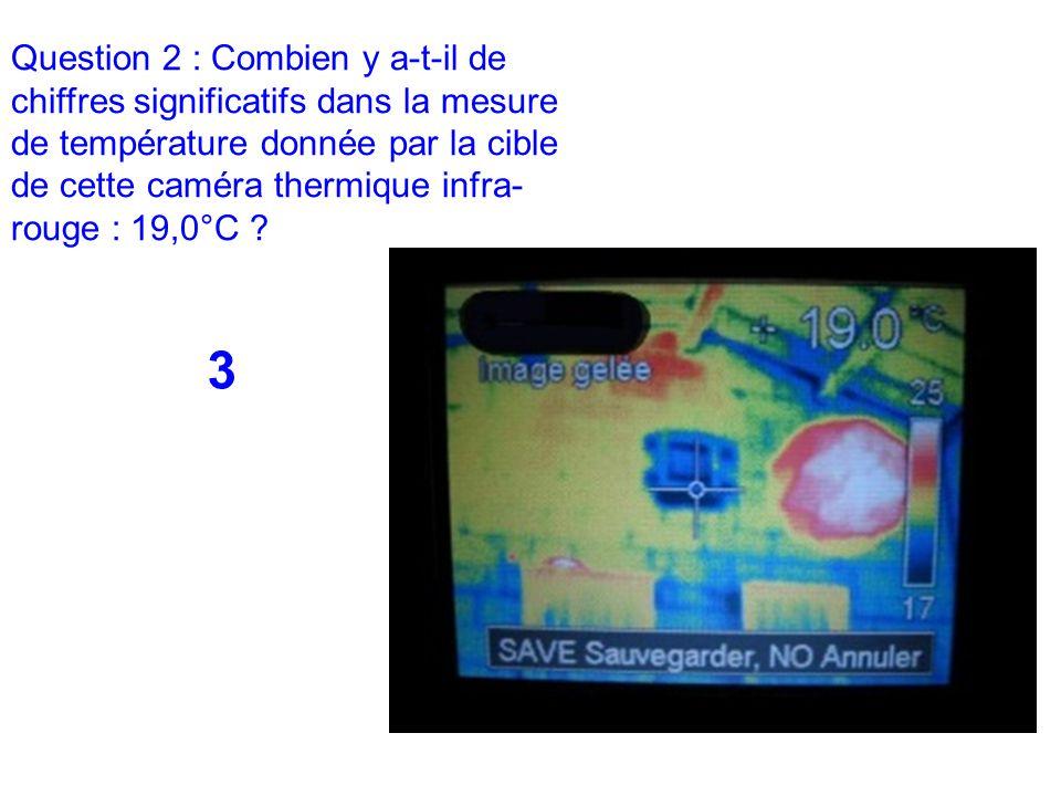 Question 2 : Combien y a-t-il de chiffres significatifs dans la mesure de température donnée par la cible de cette caméra thermique infra-rouge : 19,0°C