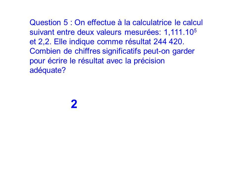 Question 5 : On effectue à la calculatrice le calcul suivant entre deux valeurs mesurées: 1,111.105 et 2,2. Elle indique comme résultat 244 420. Combien de chiffres significatifs peut-on garder pour écrire le résultat avec la précision adéquate