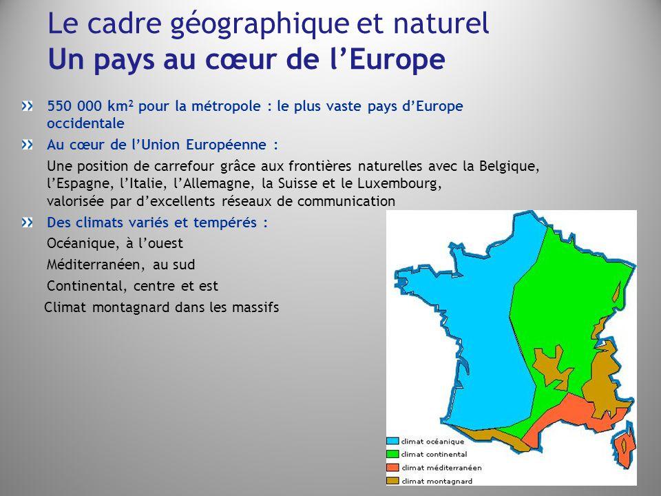 Le cadre géographique et naturel Un pays au cœur de l'Europe