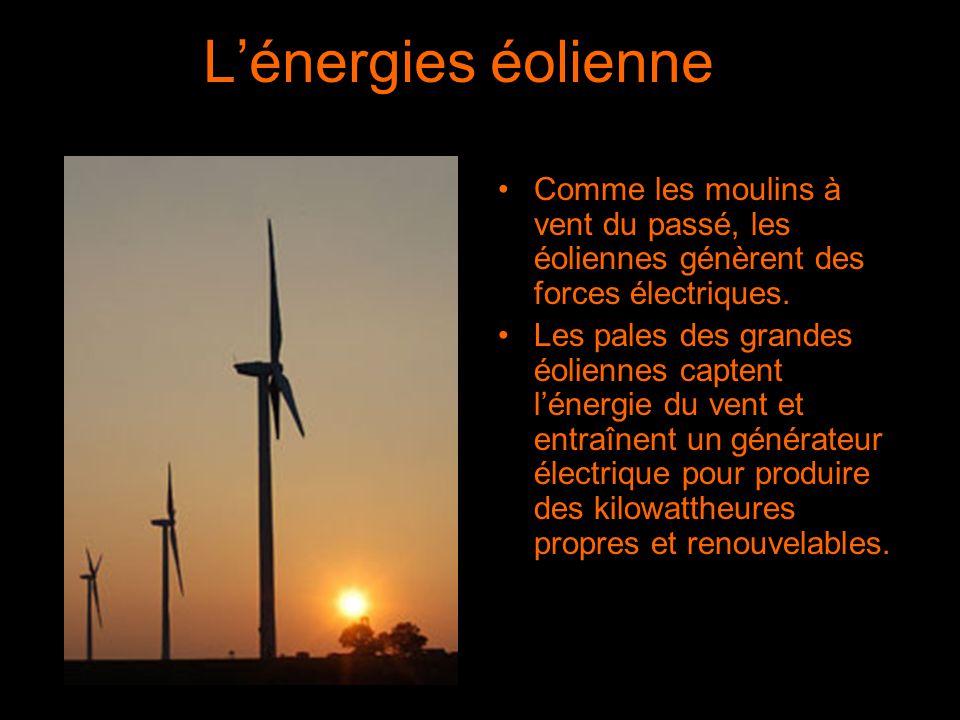 L'énergies éolienne Comme les moulins à vent du passé, les éoliennes génèrent des forces électriques.