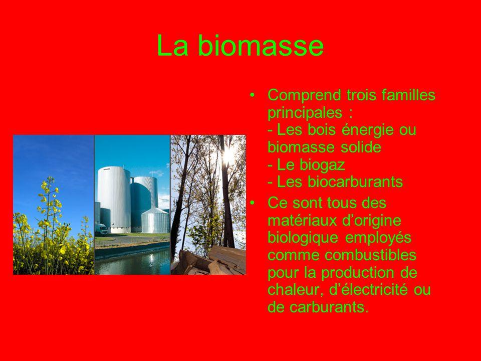 La biomasse Comprend trois familles principales : - Les bois énergie ou biomasse solide - Le biogaz - Les biocarburants.