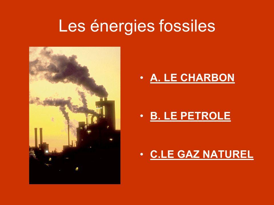 Les énergies fossiles A. LE CHARBON B. LE PETROLE C.LE GAZ NATUREL