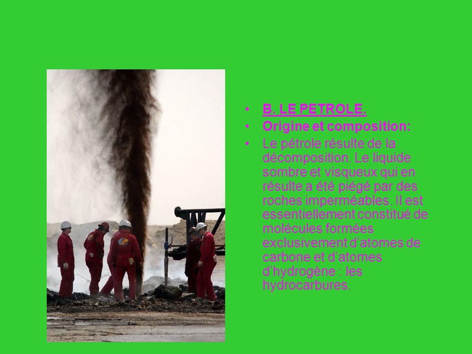 B : Le pétrole B. LE PETROLE. Origine et composition: