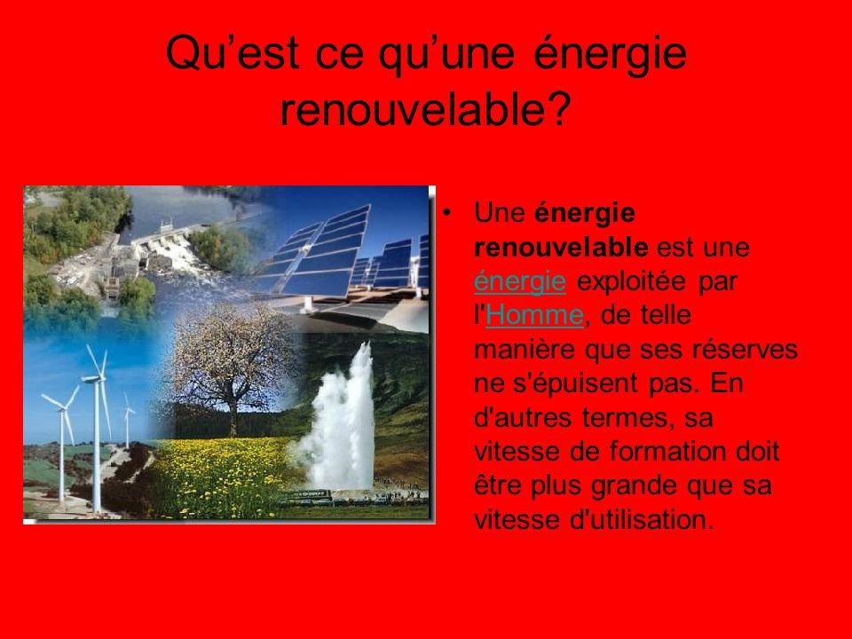 Qu'est ce qu'une énergie renouvelable