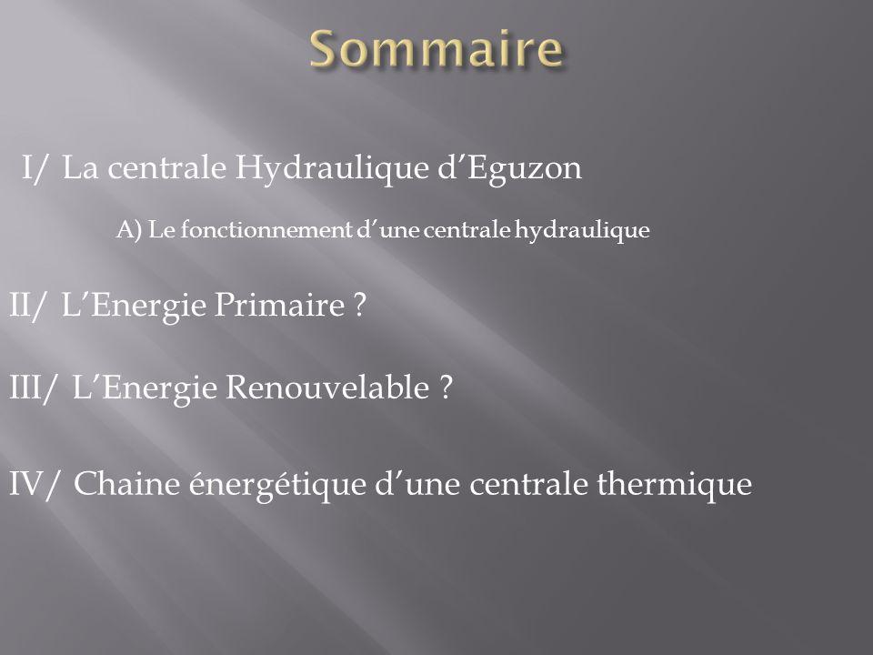 Sommaire I/ La centrale Hydraulique d'Eguzon II/ L'Energie Primaire