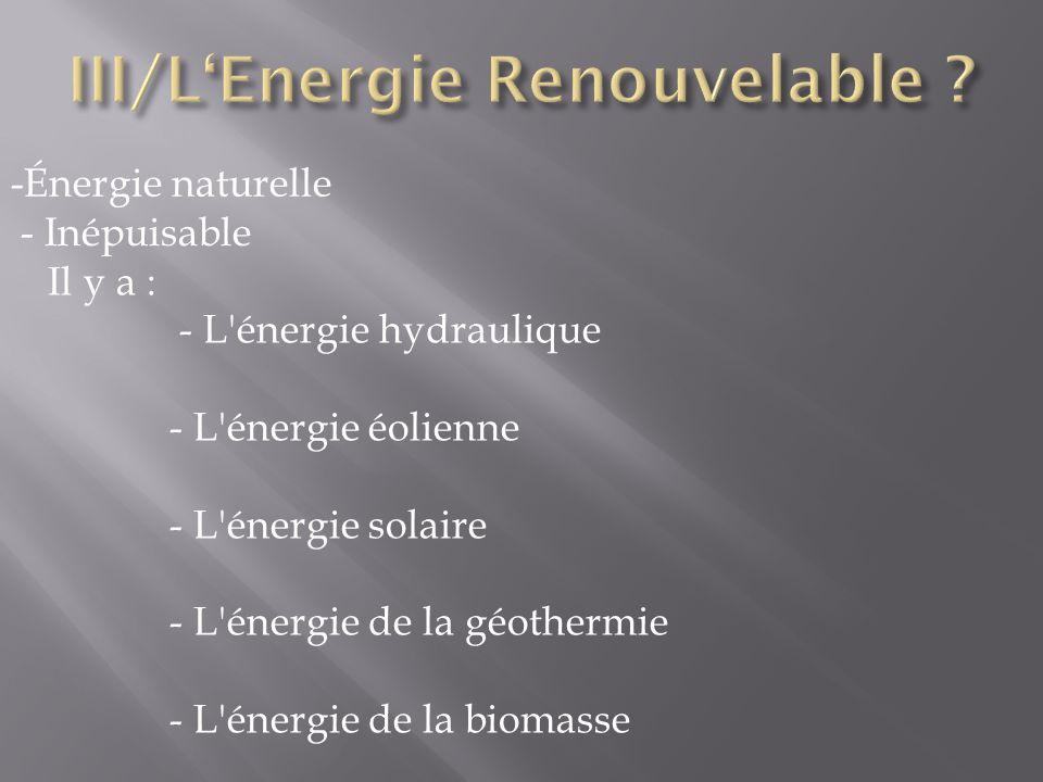 III/L'Energie Renouvelable