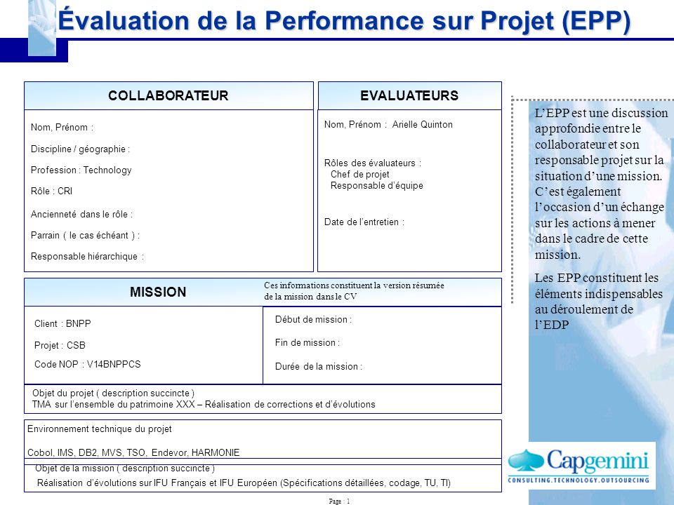 u00c9valuation de la performance sur projet  epp
