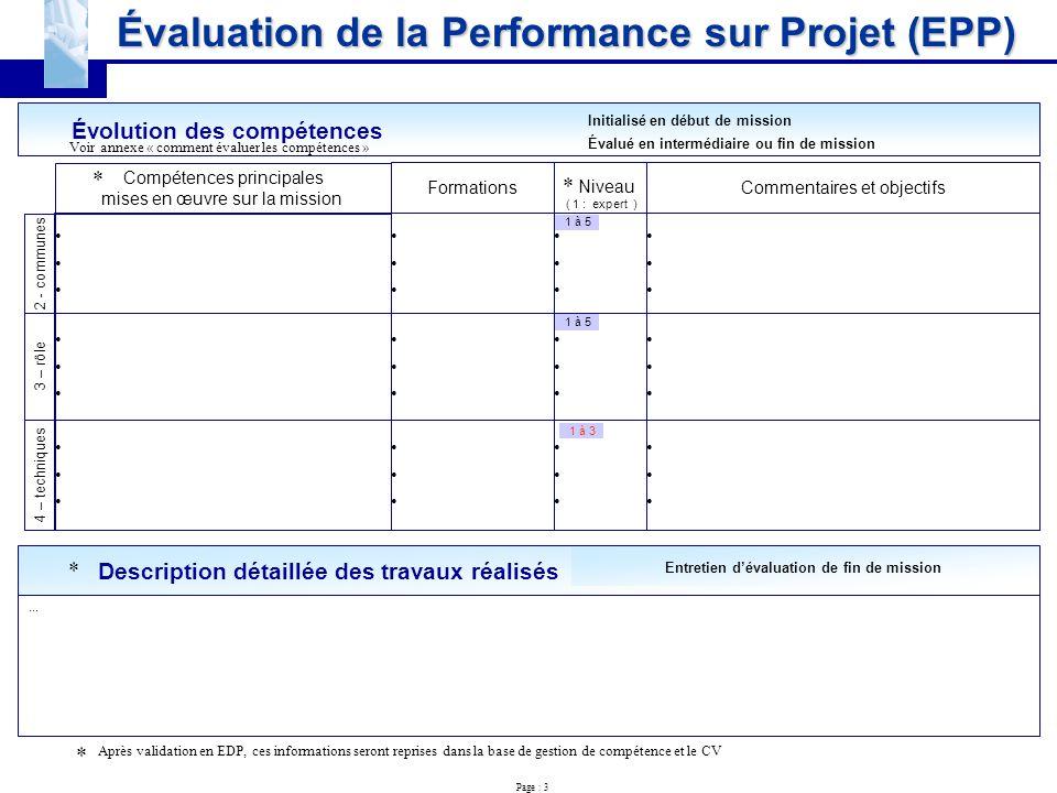u00c9valuation de la performance sur projet  epp