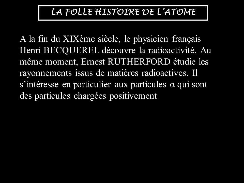A la fin du XIXème siècle, le physicien français Henri BECQUEREL découvre la radioactivité.