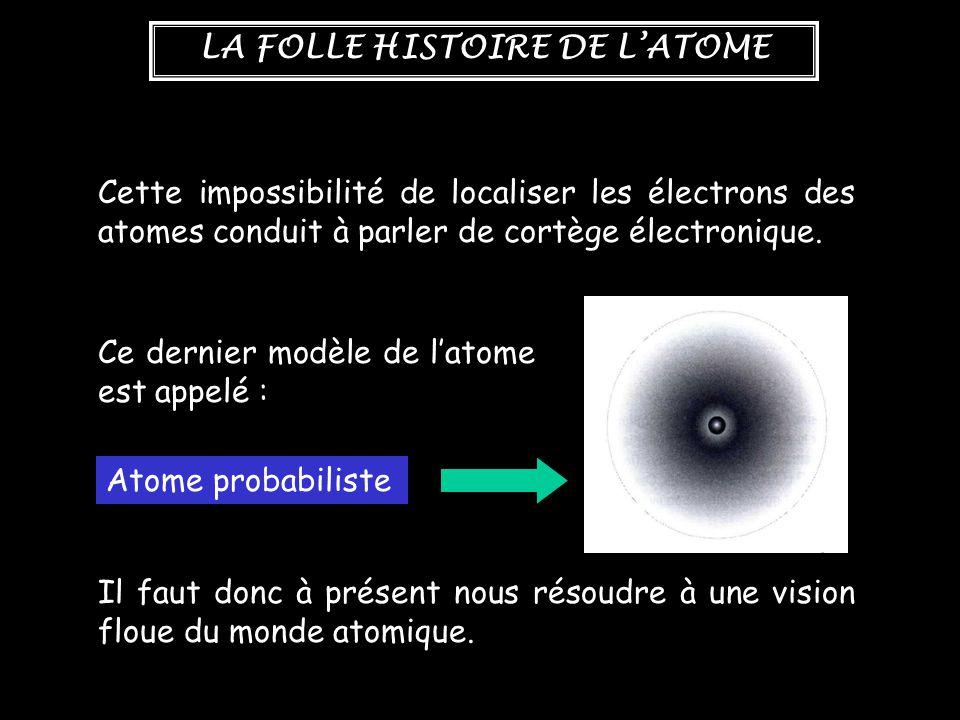 Cette impossibilité de localiser les électrons des atomes conduit à parler de cortège électronique.