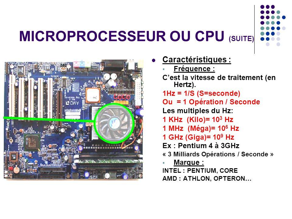 MICROPROCESSEUR OU CPU (SUITE)