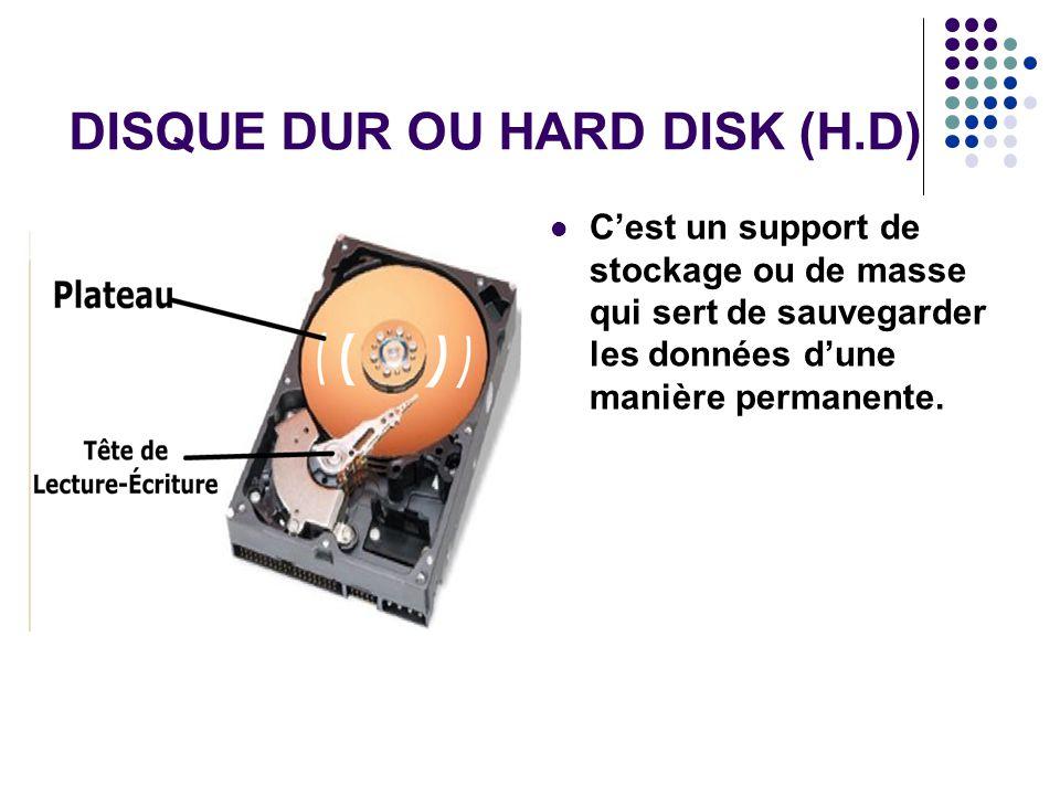 DISQUE DUR OU HARD DISK (H.D)
