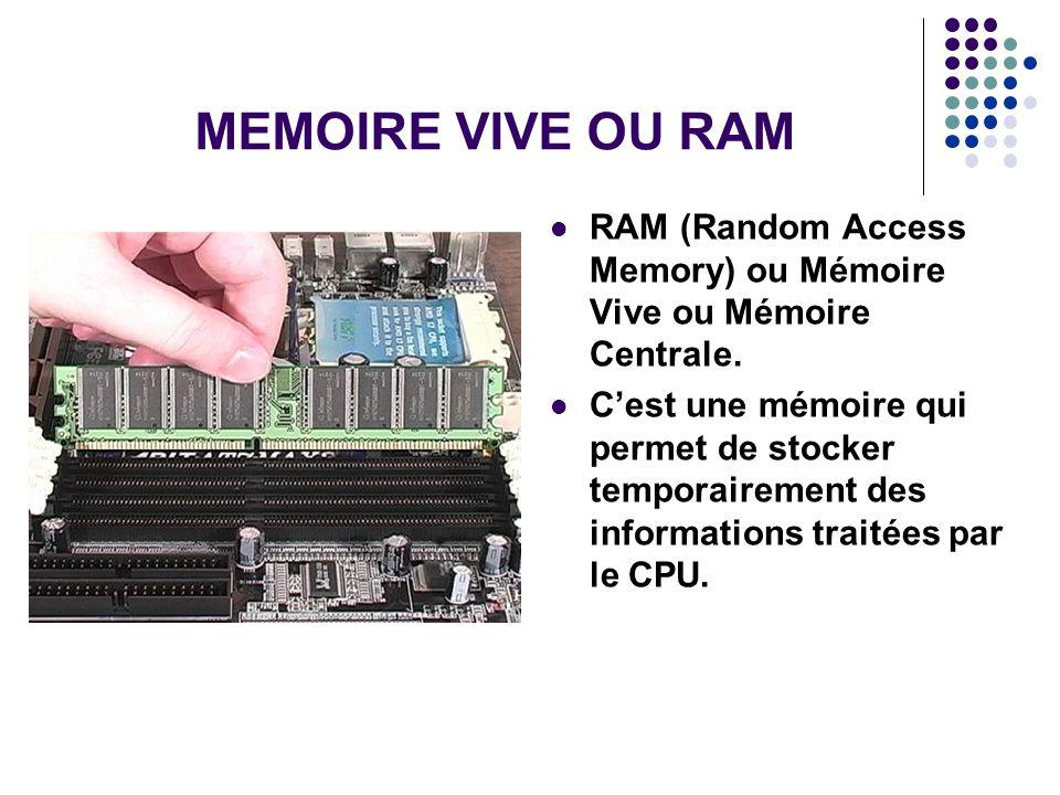 MEMOIRE VIVE OU RAM RAM (Random Access Memory) ou Mémoire Vive ou Mémoire Centrale.