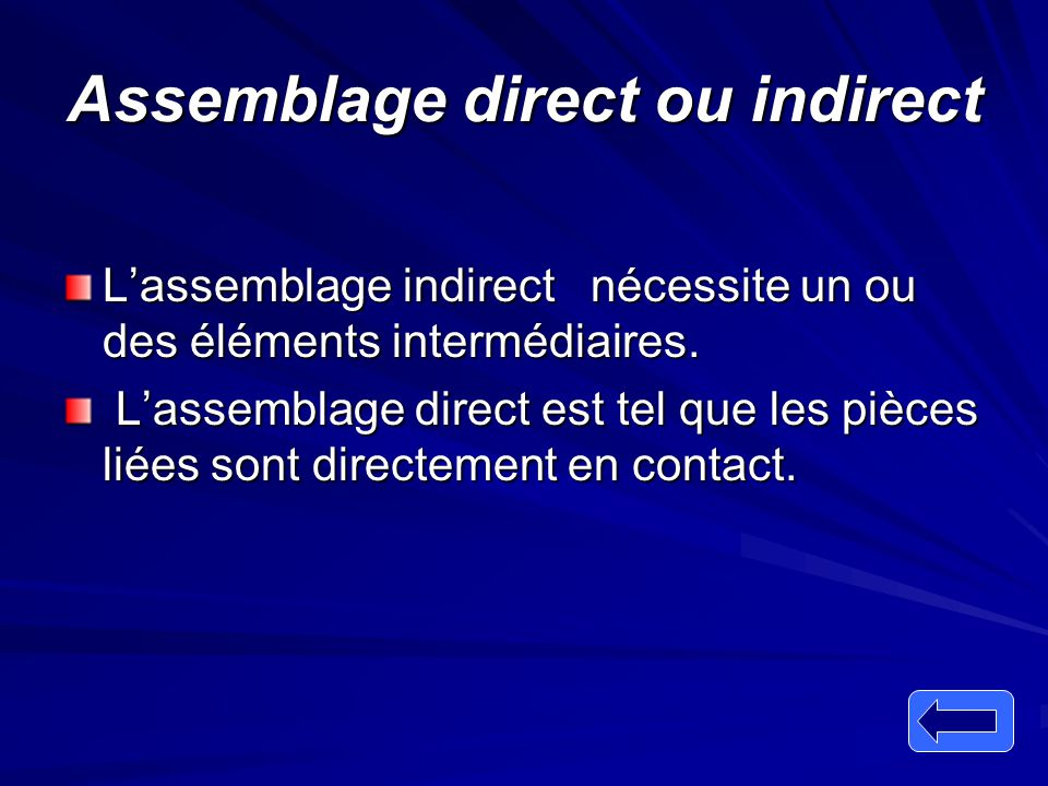 Assemblage direct ou indirect