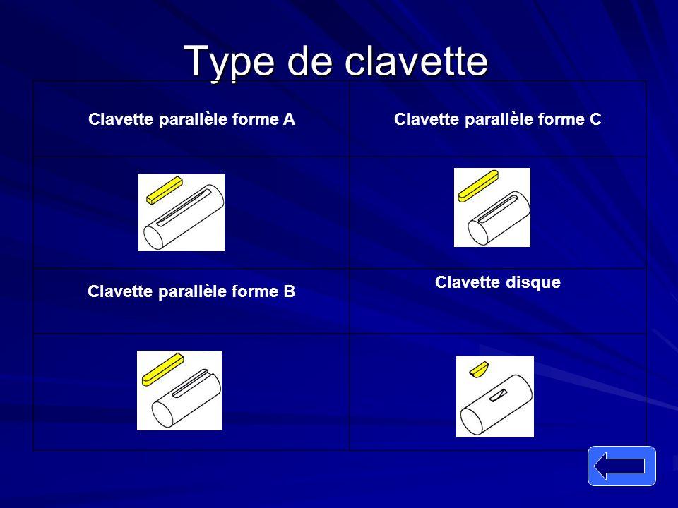 Type de clavette Clavette parallèle forme C Clavette parallèle forme A