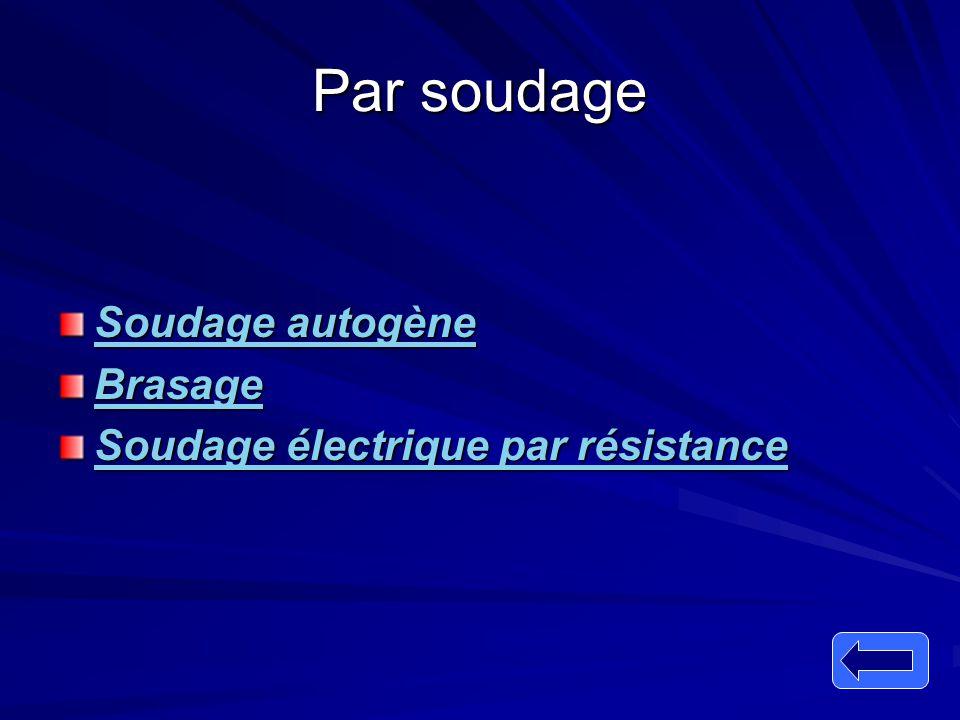 Par soudage Soudage autogène Brasage Soudage électrique par résistance