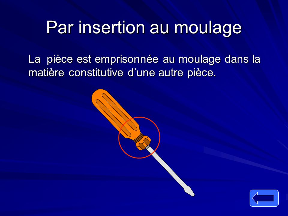 Par insertion au moulage