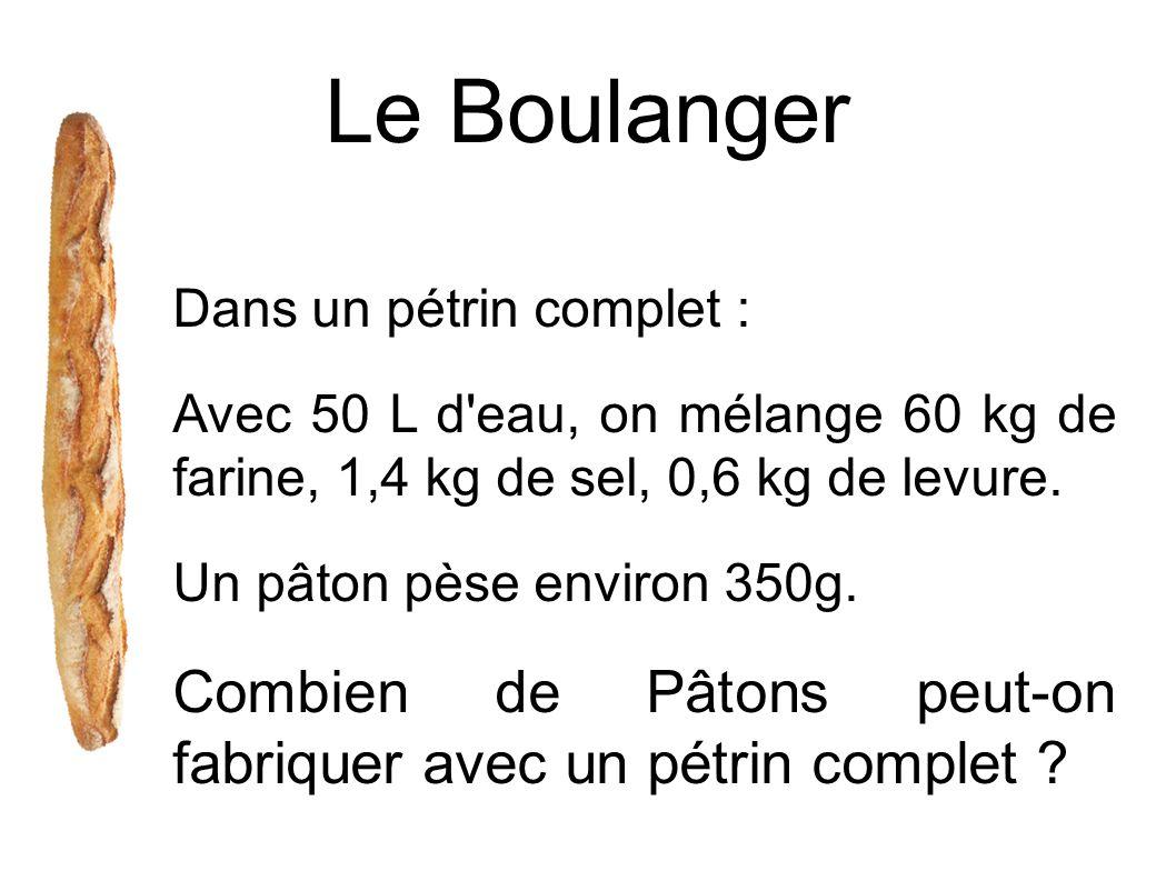 Le Boulanger Dans un pétrin complet : Avec 50 L d eau, on mélange 60 kg de farine, 1,4 kg de sel, 0,6 kg de levure.