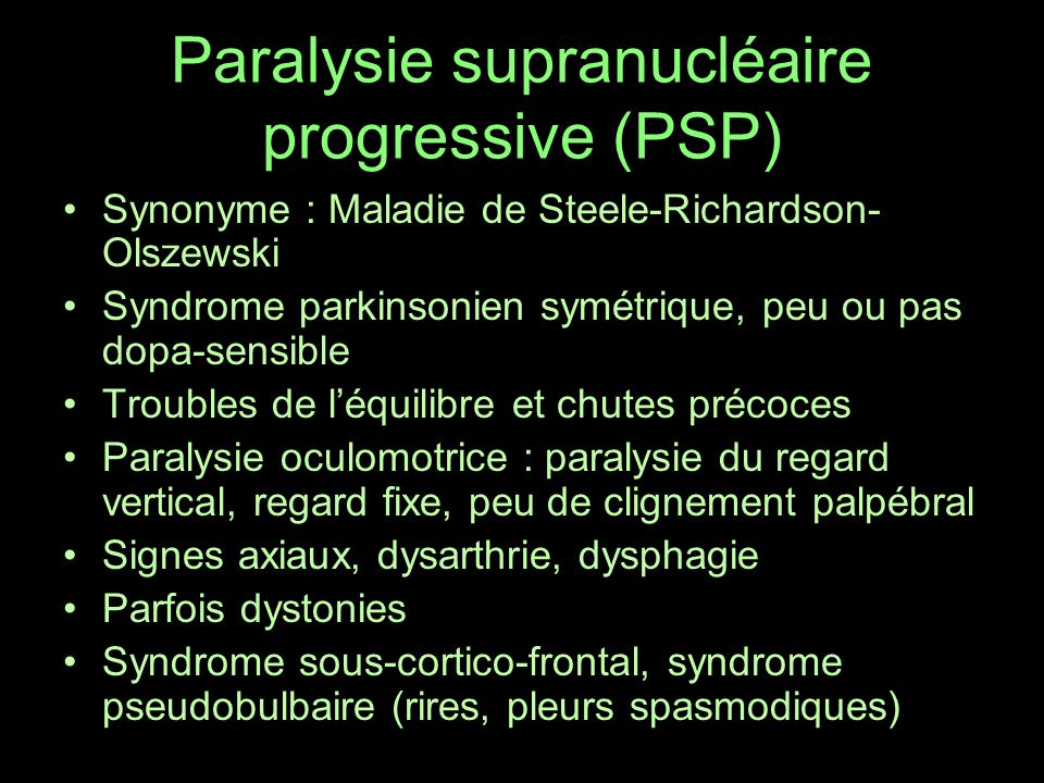 Syndrome extra pyramidal maladie de parkinson chor es for A porter du regard synonyme