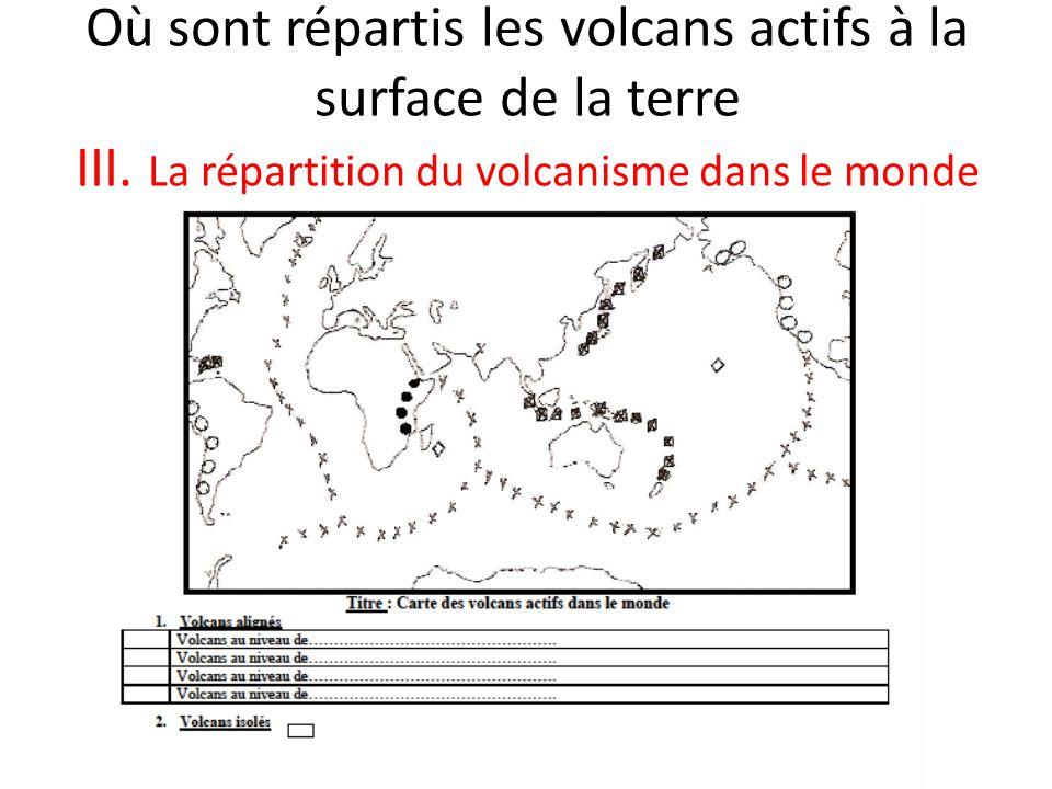 Où sont répartis les volcans actifs à la surface de la terre III