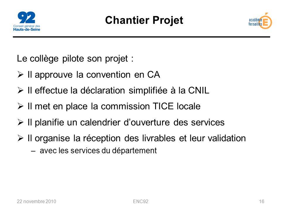 Chantier Projet Le collège pilote son projet :