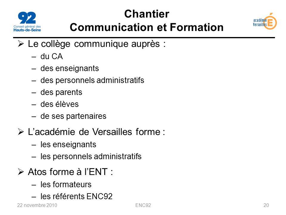 Chantier Communication et Formation
