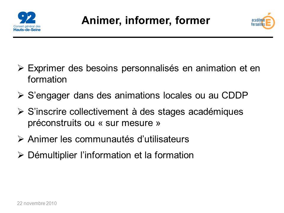Animer, informer, former