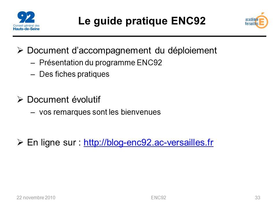 Le guide pratique ENC92 Document d'accompagnement du déploiement