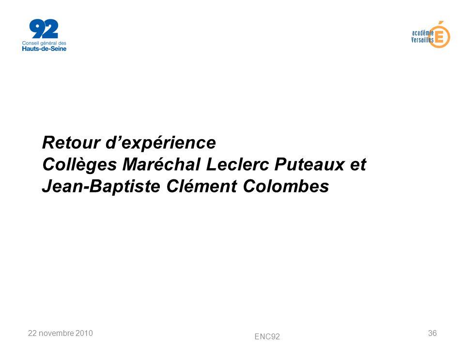 Retour d'expérience Collèges Maréchal Leclerc Puteaux et Jean-Baptiste Clément Colombes