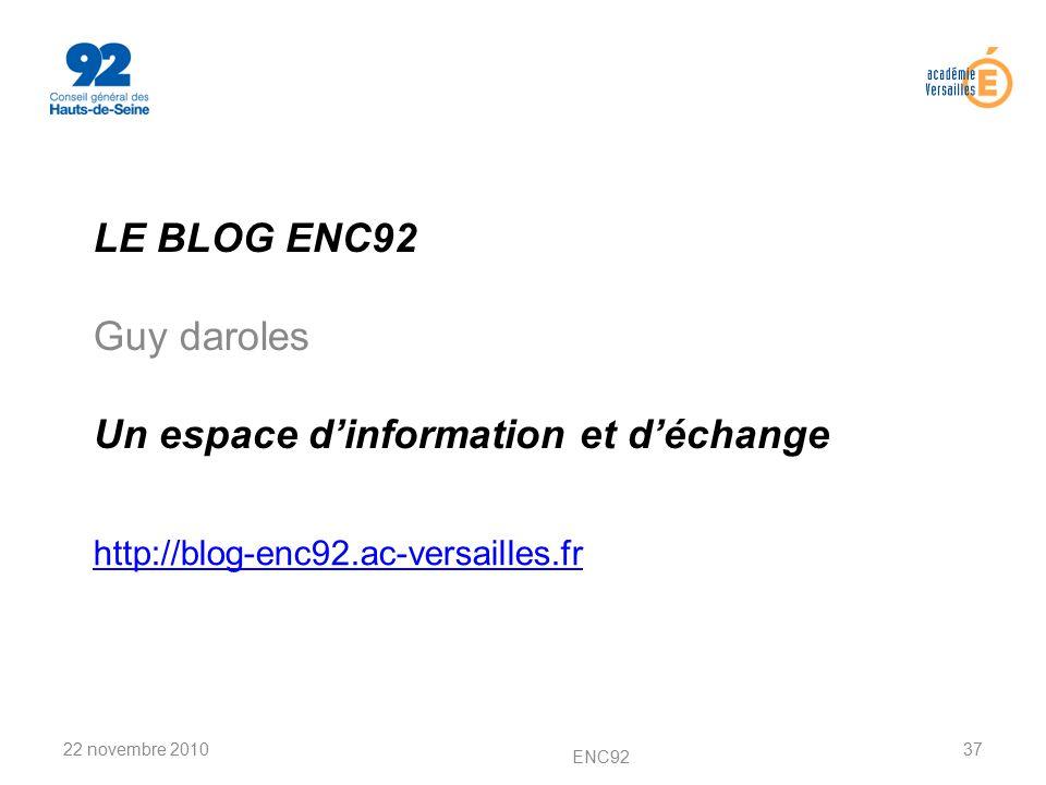 LE BLOG ENC92 Guy daroles Un espace d'information et d'échange