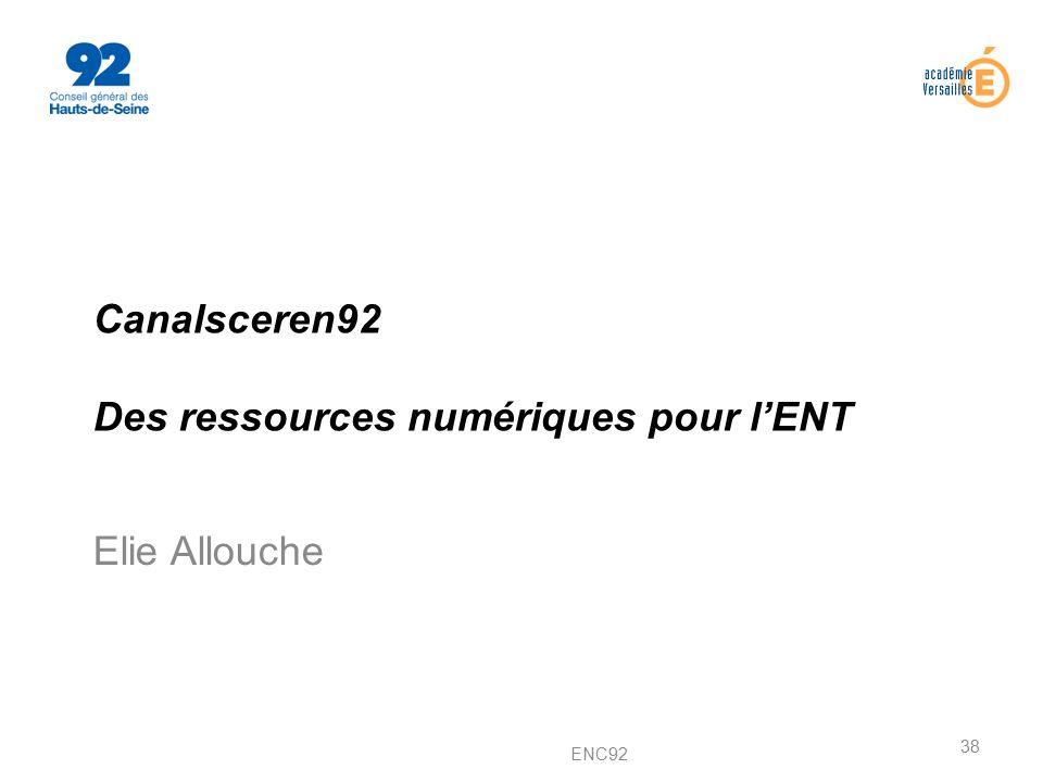 Canalsceren92 Des ressources numériques pour l'ENT