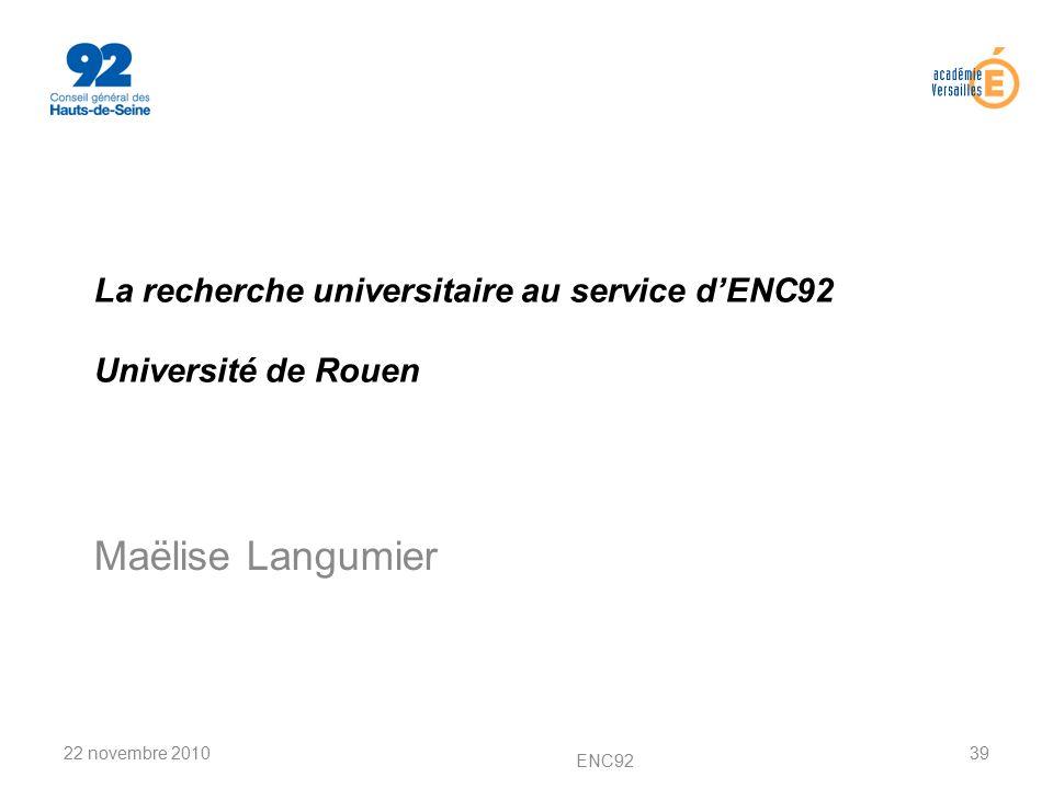 La recherche universitaire au service d'ENC92 Université de Rouen
