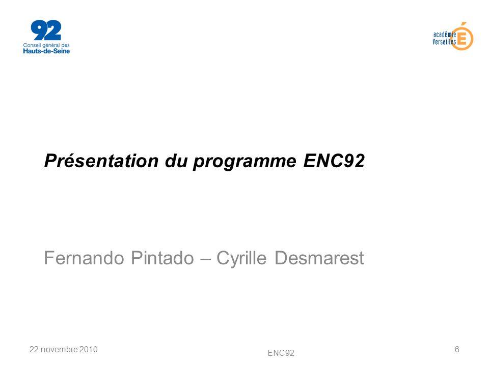 Présentation du programme ENC92