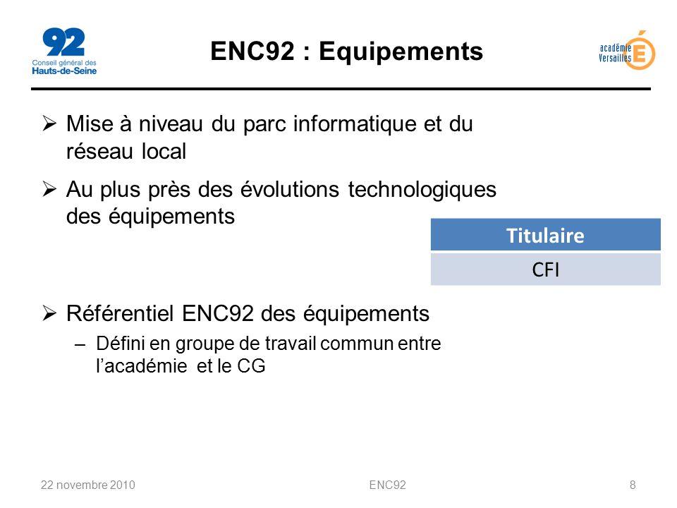 ENC92 : Equipements Mise à niveau du parc informatique et du réseau local. Au plus près des évolutions technologiques des équipements.
