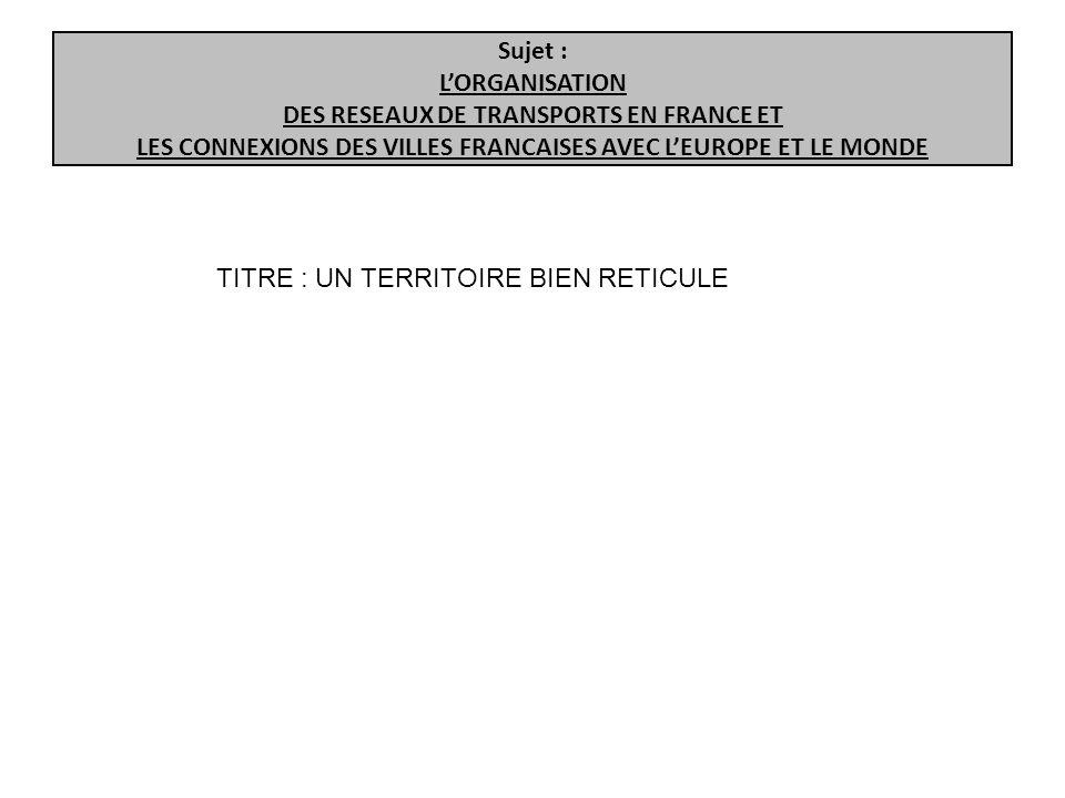 Sujet : L'ORGANISATION DES RESEAUX DE TRANSPORTS EN FRANCE ET LES CONNEXIONS DES VILLES FRANCAISES AVEC L'EUROPE ET LE MONDE