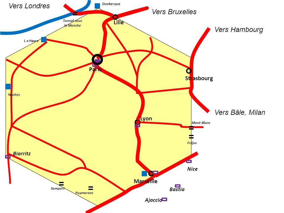 Vers Londres Vers Bruxelles Vers Hambourg Vers Bâle, Milan Lille Paris
