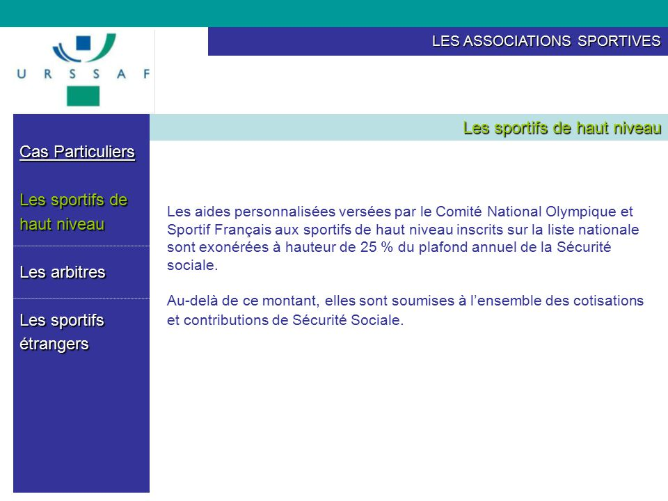 Les associations sportives ppt t l charger - Du plafond horaire de la securite sociale ...
