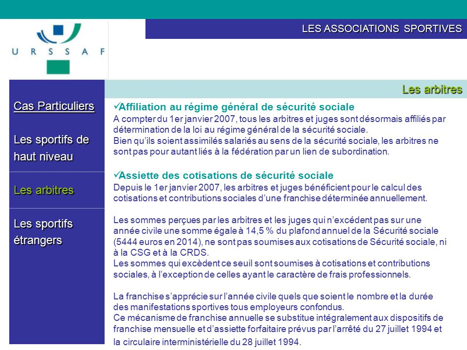 Les associations sportives ppt t l charger - Plafonds securite sociale depuis 1980 ...