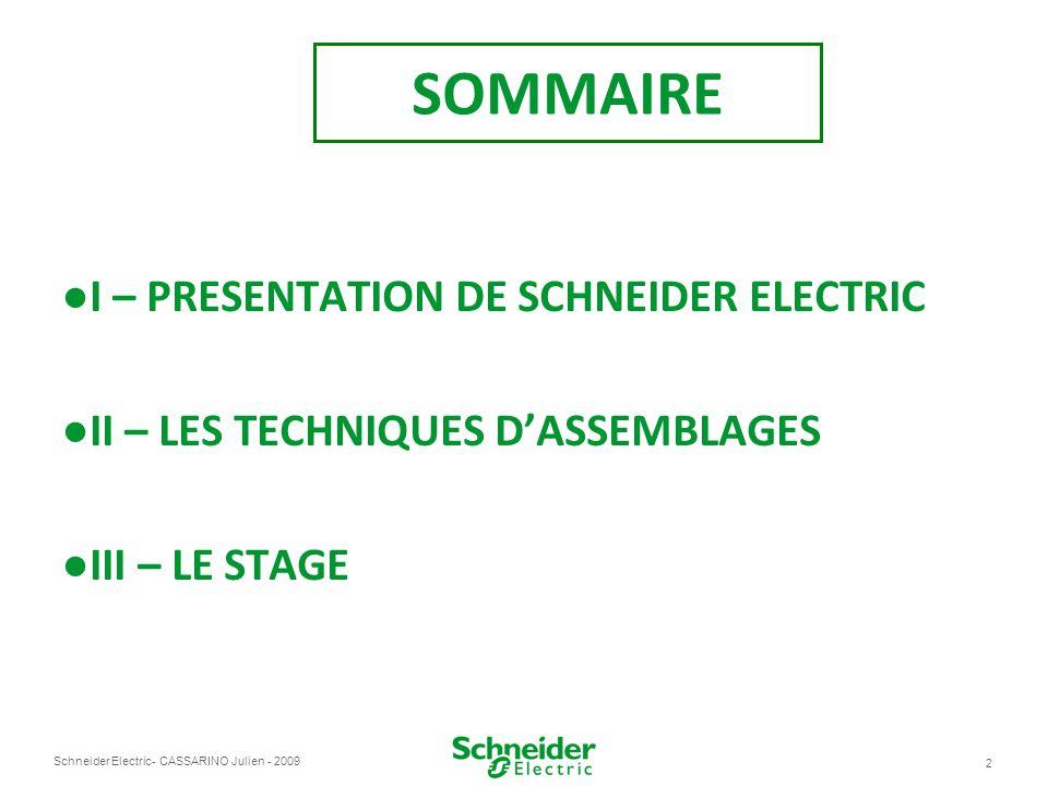 SOMMAIRE I – PRESENTATION DE SCHNEIDER ELECTRIC
