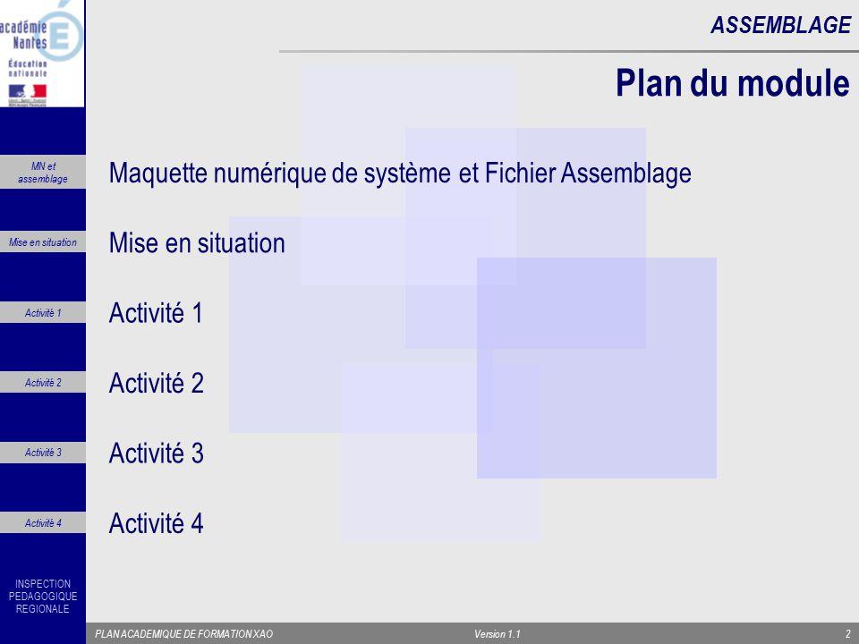 Plan du module Maquette numérique de système et Fichier Assemblage