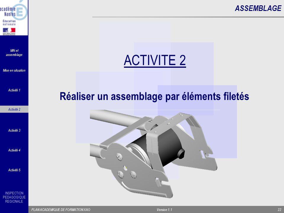 ACTIVITE 2 Réaliser un assemblage par éléments filetés ASSEMBLAGE