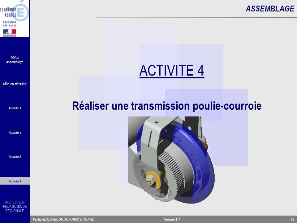 ACTIVITE 4 Réaliser une transmission poulie-courroie ASSEMBLAGE