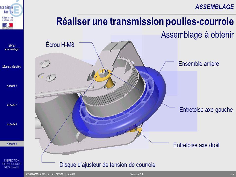 Réaliser une transmission poulies-courroie
