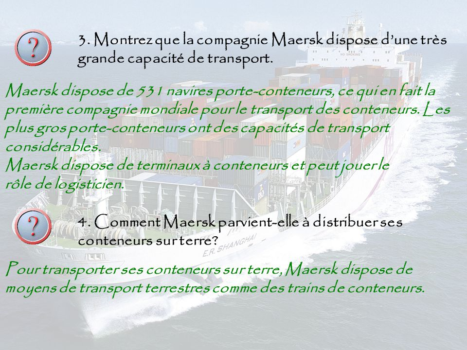 Des changes a la dimension du monde les changes de - Le plus gros porte conteneur de chez maersk ...